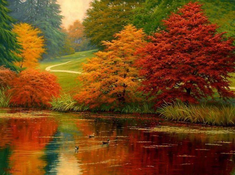 Arvores coloridas lagoa