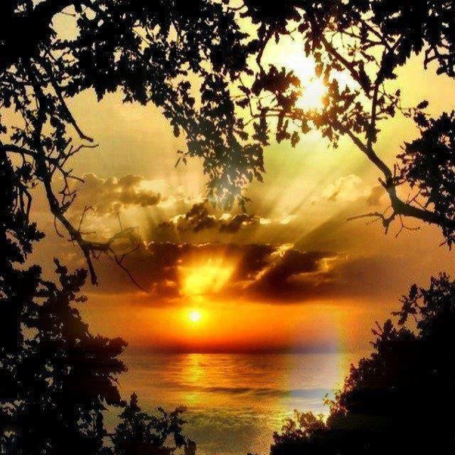 Coração solar no mar